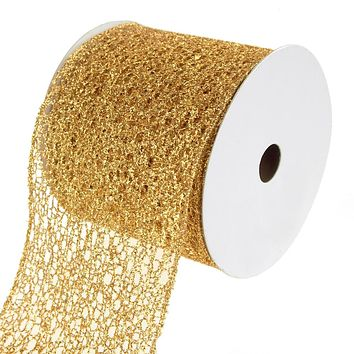 Open Weave Metallic Glitter Tinsel Mesh Christmas Ribbon, Gold, 4-Inch, 10 Yards