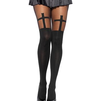 Spandex Opaque Cross Pantyhose with Sheer Thigh Accent