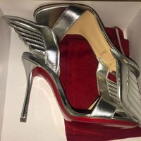 DCCK Christian Louboutin SAMOTRESSE Wing Leather Heels Sandals Shoes Silver $895