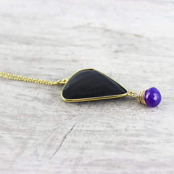 Black Onyx Necklace, Purple Chalcedony Necklace, Chalcedony Gemstone Necklace, Gold Fill Necklace, Large Pendant Necklace, Bezel Gemstone
