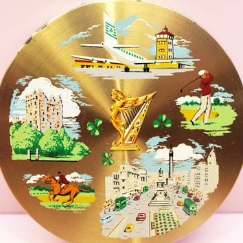 Powder Compact, Souvenir Compact, Ireland, Irish Souvenir, Landmarks, Vintage Mirror, Handbag Accessory, Makeup Case, Travel - 1950s / 1960s