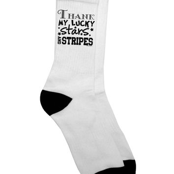 Thank My Lucky Stars and Stripes Adult Crew Socks  by TooLoud