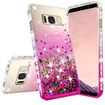 Samsung Galaxy Note 5 Case Liquid Glitter Phone Case Waterfall Floating Quicksand Bling Sparkle Cute Protective Girls Women Cover for Galaxy Note 5 - Hot Pink