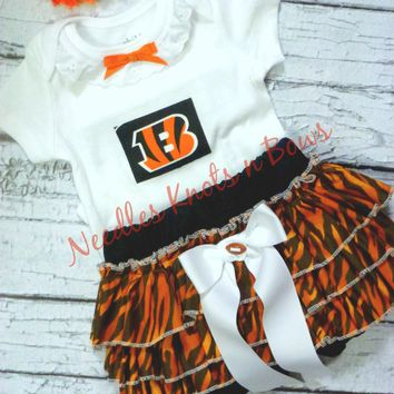 Girls Cincinnati Bengals Cheerleader Outfit, Baby Girls Bengals Coming Home Outfit, Football, Game Day