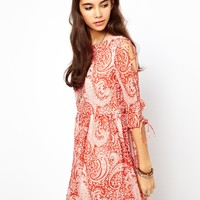 ASOS Skater Dress In Paisley Print With Lace Up Sleeve