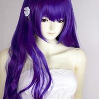 Purple Heat Friendly Long Curly Wave Hair Wig/Lolita Animation Cosplay Party Wig