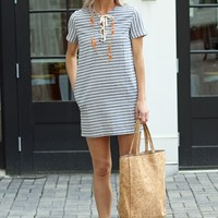 Chambray Striped Shift Dress-Karlie Arie Striped Shift Dress-$75.00 | Hand In Pocket Boutique