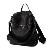 Multifunctional Punk Studded Large Leather Backpack Daypack Travel Fashion Bag