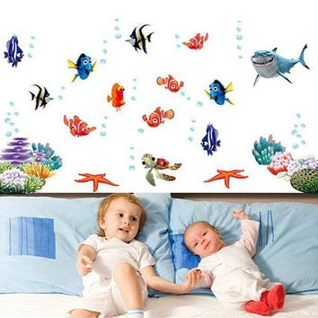PEAPGB2 Finding Nemo Under Sea Shark Fish Cartoon Bathroom Wall Stickers For Kids Rooms Nursery bedroom quarto Decor poster Decals