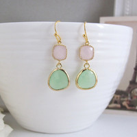 Icy Pink and Mint Green Drops Gold Framed Glass Dangle Earrings. Modern Everyday Wear. Bridesmaids Gift, Bridal Wedding Jewelry