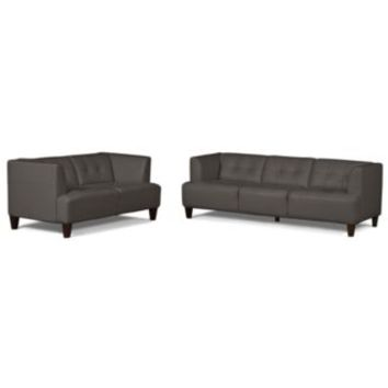 Alessia leather sofas 2 piece set sofa from macys for Alessia leather chaise
