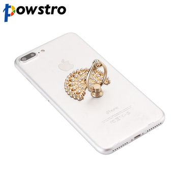 Powstro Luxury Peacock Diamond Finger Ring Universal Phone Holder Mount For iPhone 5 5s 6 6s 7 Samsung Mobile Phones Tablet Dock