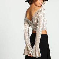 Champagne Velvet Wrap Bell Crop Top