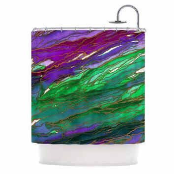 "Ebi Emporium ""Agate Magic - Lime Purple"" Green Lavender Shower Curtain"