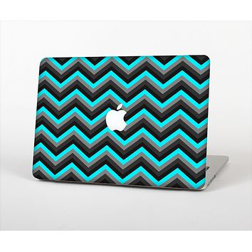 The Turquoise-Black-Gray Chevron Pattern Skin Set for the Apple MacBook Pro 13""