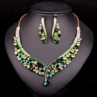 Fashion Indian Jewellery Green Crystal Necklace Earrings Bridal Jewelry Sets