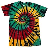 Yoga Clothing for You Mens Rasta Web Tie Dye Tee Shirt