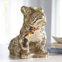 Mercury Glass Bulldog Lamp