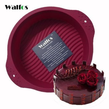 WALFOS Big Round food grade non stick Silicone Cake pan 3D cake Mold Baking Tools Bakeware Maker Mold Tray Birthday Cake Dessert