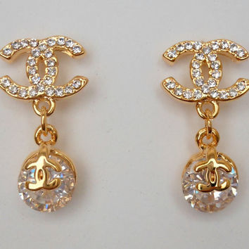 Chanel Inspired Crystal Gold Dangle Earrings-- Classic Double C Design Inspired By Coco Chanel