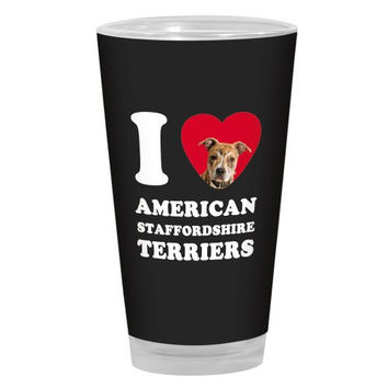 Tree-Free Greetings PG03992 I Heart American Staffordshire Terriers Artful Alehouse Pint Glass, 16-Ounce, Tan, Black and White