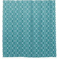 Custom Color Turquoise White Diamond Pattern Shower Curtain