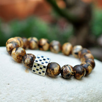 Brown Tibetan Beaded Bracelet, Natural Stone Beads, Sterling Silver Charm