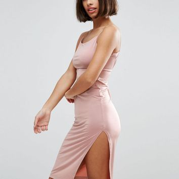 ASOS PETITE Slinky Midi Dress With Strappy Tie Back at asos.com