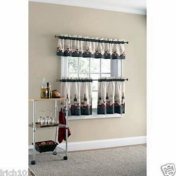"3 Piece Vineyard Bottles Kitchen Curtain Set with Valance and 24""L Tiers"