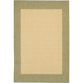 3'9 x 5'5 Checkered Area Rug in Green Tan for Indoor Outdoor Rug