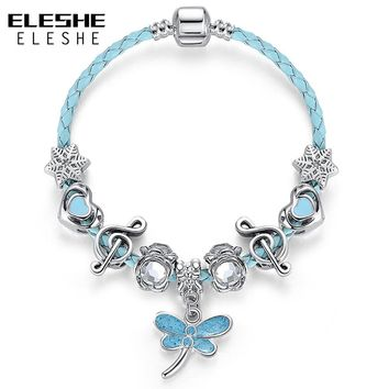 ELESHE Fashion Blue Leather Bracelet Bangles for Women Girls Silver Butterfly Beads Friendship Charms Braclets Pulseiras Jewelry