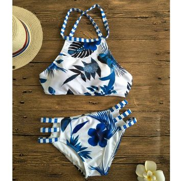 New Blue Flower Forest Leaves Printed Bikini Set