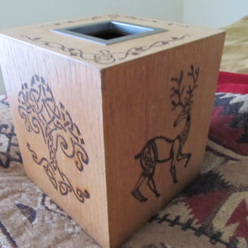 Wooden Tissue Box Cover. Woodburned by hand.