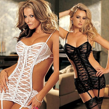 Sexy Lace Lady Open Crotchless Fishnet Body Stocking Bodysuit Lingerie Nightwear D_L = 1708623172