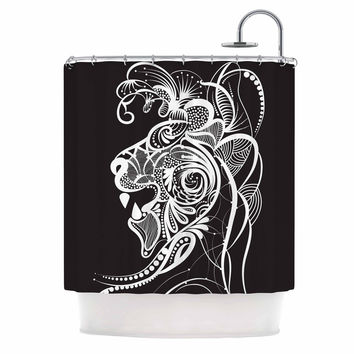 "Maria Bazarova ""Kind Lion"" Black White Shower Curtain"