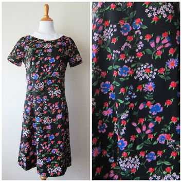 60s Black A-Line Mod Shift Dress, Groovy Flower Power Neon Floral Print w/ White Collar