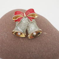 AVON Glitter Under Lucite Brooch, Red Enamel Bow Pin, Double Christmas Bells Brooch, UK Seller