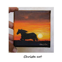 "Original oil painting on canvas miniature  ""Sunset'' (10x10cm-4x4i)"