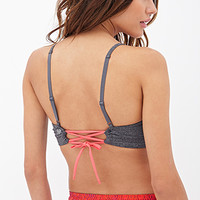 FOREVER 21 Medium Impact - Tie-Back Sports Bra Charcoal/Coral Large