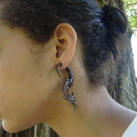 Anela's Hawaii Wood Organic Fake Gauges Earrings Tribal Expander Split