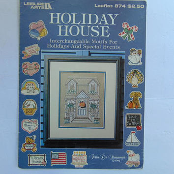 Holiday House Cross Stitch Pattern with Interchangeable Motifs