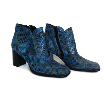 Vintage Milagros Shoes- Royal Blue- Embossed Leather Snakeskin- Ankle Boots- 1990's-Disco Boots-Booties-Turquoise-Snake Skin-Vintage Boots