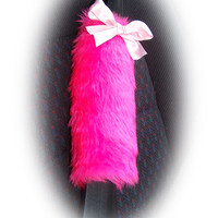 Hot barbie pink car seatbelt pads faux fur fluffy fuzzy furry car cover 1 pair & baby pink satin bow covers girly girl cute pretty bright