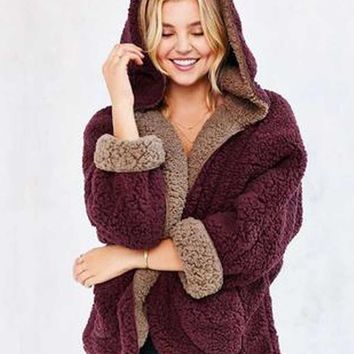 Reversible Faux Fur Hooded Coat Fuzzy Jacket