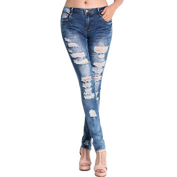 Fashion Pants Jeans Women Hole Stretch Cotton Ripped Jeans Skinny Jeans L4 SM6