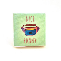 """Fanny Pack Canvas Magnet - 2"""" x 2""""- Kitchen magnet, refrigerator magnet, home accessory, home decor"""