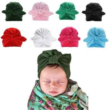 79448284a71 Baby Rabbit Ear Hospital Cap Winter Cute Newborn Turban Baby Hat
