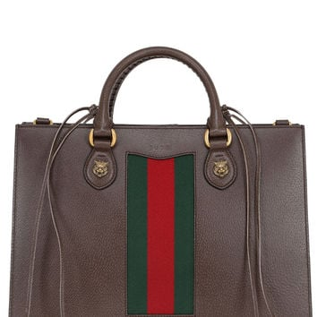 GUCCI Animalier Top Handle leather tote bag with strings