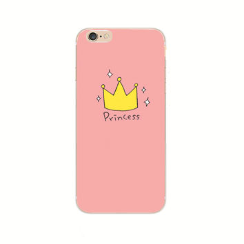 2016 New Fashion Phone Cases For iPhone 6 6S 7 Plus 7Plus Case Princess Prince Crown Back Cover Transparent Hard Case Coque