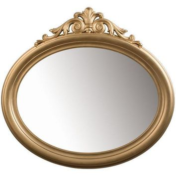 GM Luxury Blake Oval Decorative Wall Art Hand Carved Mirror, Leaf 37.8x35.4